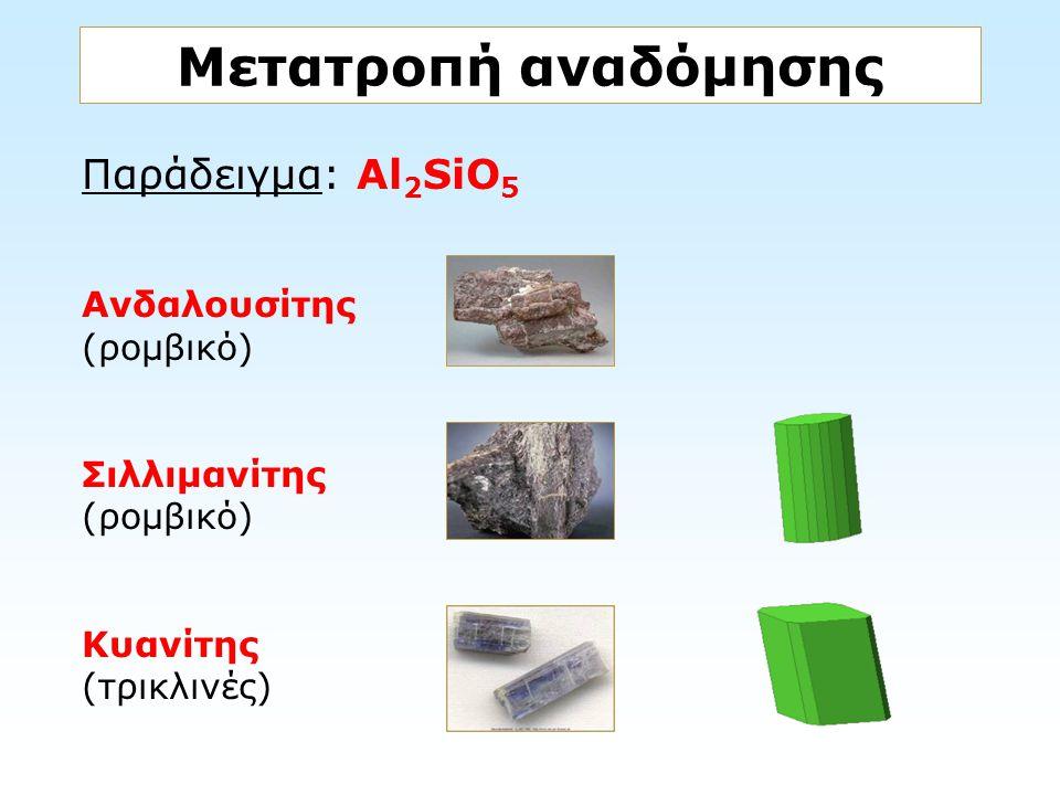 Παράδειγμα: Al 2 SiO 5 Ανδαλουσίτης (ρομβικό) Σιλλιμανίτης (ρομβικό) Κυανίτης (τρικλινές) Μετατροπή αναδόμησης
