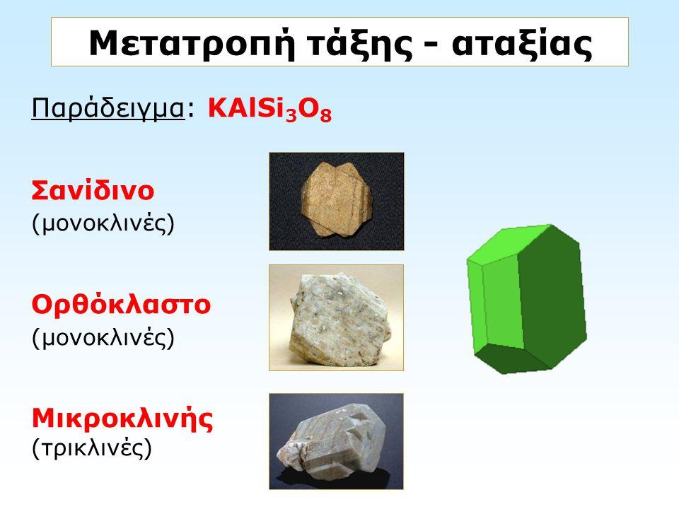Παράδειγμα: KAlSi 3 O 8 Σανίδινο (μονοκλινές) Ορθόκλαστο (μονοκλινές) Μικροκλινής (τρικλινές) Μετατροπή τάξης - αταξίας