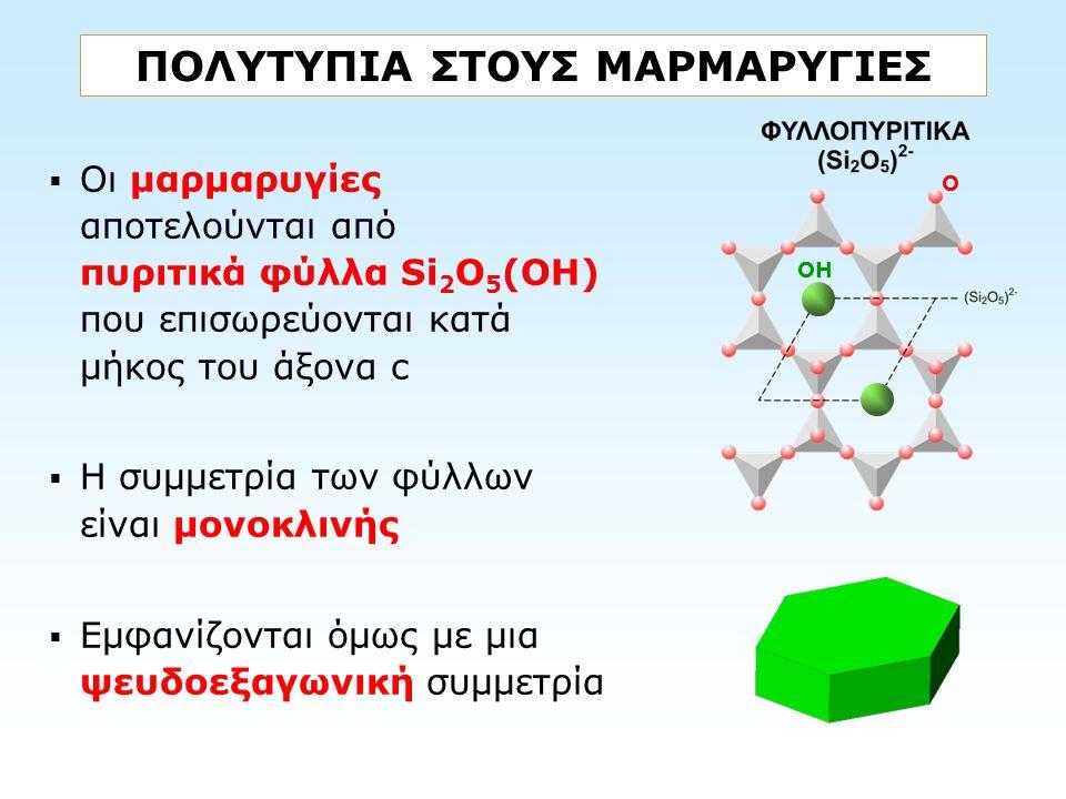 ΠΟΛΥΤΥΠΙΑ ΣΤΟΥΣ ΜΑΡΜΑΡΥΓΙΕΣ  Οι μαρμαρυγίες αποτελούνται από πυριτικά φύλλα Si 2 O 5 (OH) που επισωρεύονται κατά μήκος του άξονα c  Η συμμετρία των