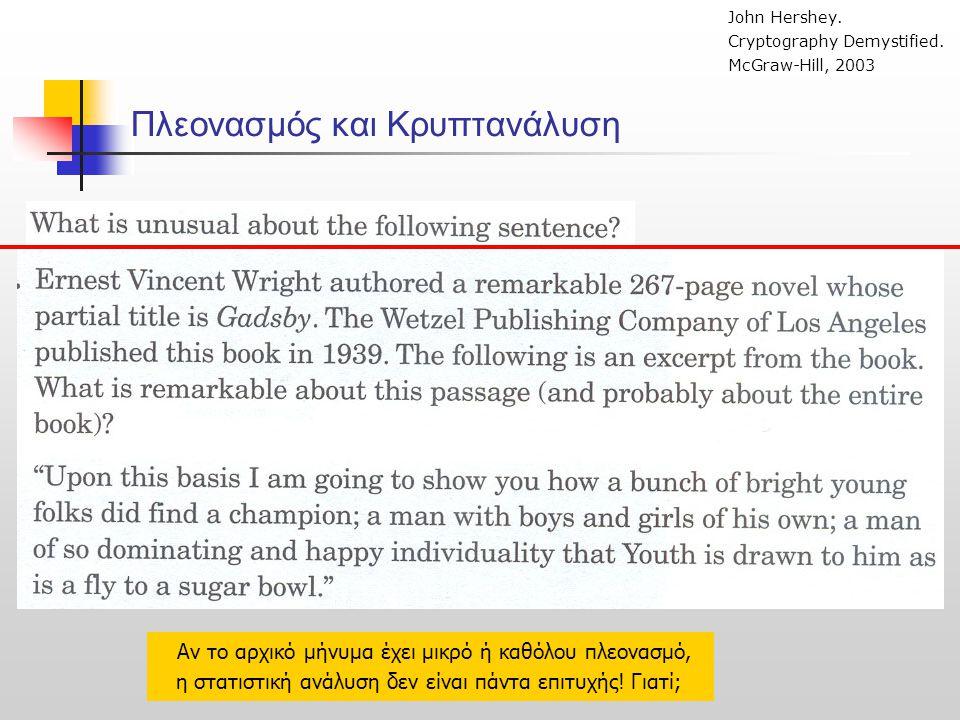 Πλεονασμός και Κρυπτανάλυση John Hershey. Cryptography Demystified. McGraw-Hill, 2003 Αν το αρχικό μήνυμα έχει μικρό ή καθόλου πλεονασμό, η στατιστική
