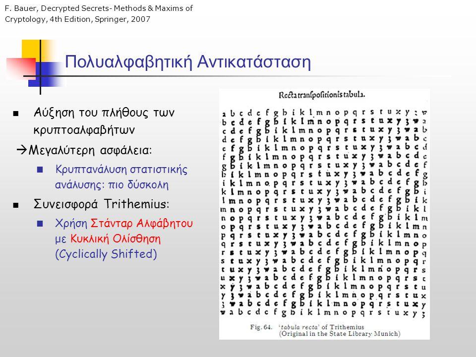 Πολυαλφαβητική Αντικατάσταση F. Bauer, Decrypted Secrets- Μethods & Maxims of Cryptology, 4th Edition, Springer, 2007  Αύξηση του πλήθους των κρυπτοα