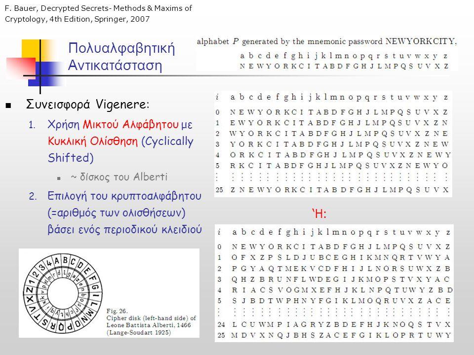Πολυαλφαβητική Αντικατάσταση  Συνεισφορά Vigenere: 1. Χρήση Μικτού Αλφάβητου με Κυκλική Ολίσθηση (Cyclically Shifted)  ~ δίσκος του Alberti 2. Επιλο