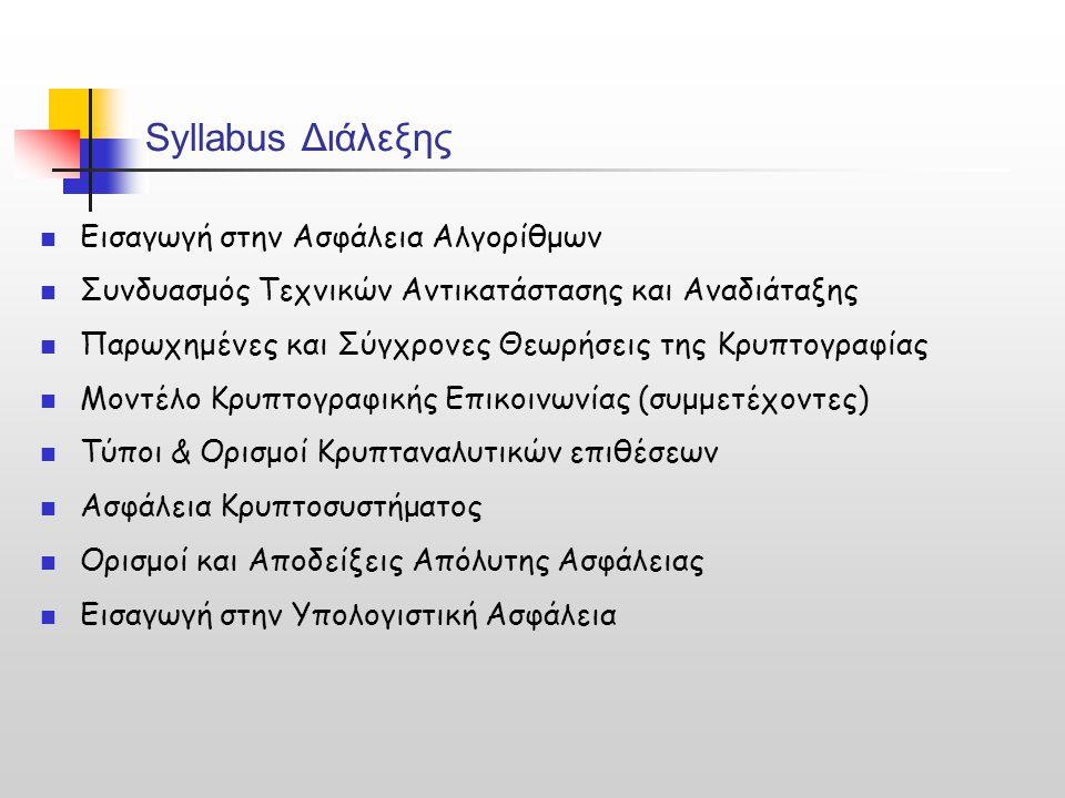 Αλγόριθμοι Κρυπτογράφησης και Αποκρυπτογράφησης = Συναρτήσεις Menezes, Oorschot, Vanstone, Handbook of Applied Cryptography, CRC, 2001 Μια συνάρτηση f: Χ  Χ που αντιστρέφεται ονομάζεται και αντιμετάθεση (permutation)