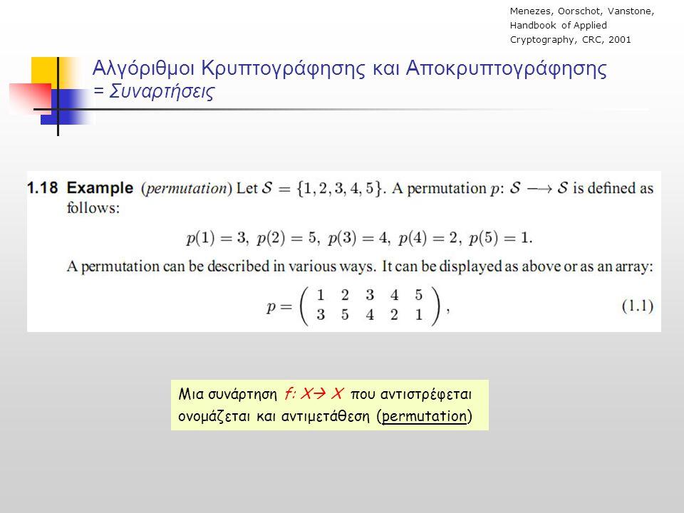 Αλγόριθμοι Κρυπτογράφησης και Αποκρυπτογράφησης = Συναρτήσεις Menezes, Oorschot, Vanstone, Handbook of Applied Cryptography, CRC, 2001 Μια συνάρτηση f