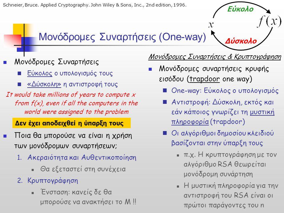 Μονόδρομες Συναρτήσεις (One-way)  Μονόδρομες Συναρτήσεις  Εύκολος ο υπολογισμός τους  «Δύσκολη» η αντιστροφή τους It would take millions of years t