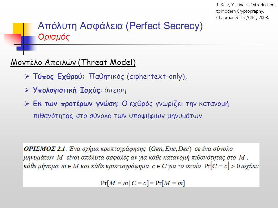 Απόλυτη Ασφάλεια (Perfect Secrecy) Ορισμός Μοντέλο Απειλών (Threat Model)  Τύπος Εχθρού: Παθητικός (ciphertext-only),  Υπολογιστική Ισχύς: άπειρη 