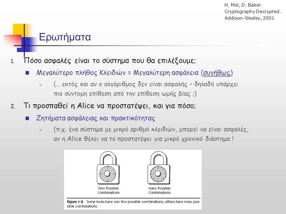 H Alice υπολογίζει ένα Κ' τέτοιο ώστε: Κ' = C D H Αστυνομία κατάσχει το C, αξιώνει από την Alice το κλειδί και αποκρυπτογραφεί: C K' = D Αλγόριθμος Μιας Χρήσης (One-time Pad) ( Vernam cipher - 1917) Περίπτωση («πώς θα μεταμφιέσουμε ένα κρυπτογραφημένο μήνυμα»)  Η Alice κρυπτογραφεί για τον Bob ένα μήνυμα P με το κλειδί K (που «μοιράζεται» με τον Bob).