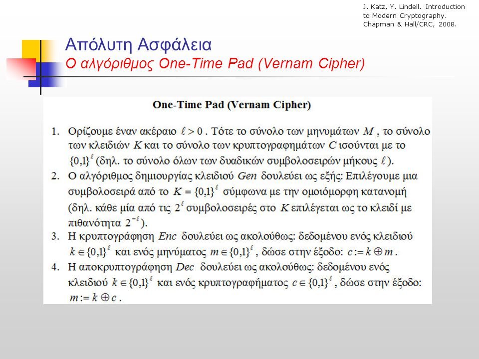 Απόλυτη Ασφάλεια O αλγόριθμος One-Time Pad (Vernam Cipher) J. Katz, Y. Lindell. Introduction to Modern Cryptography. Chapman & Hall/CRC, 2008.