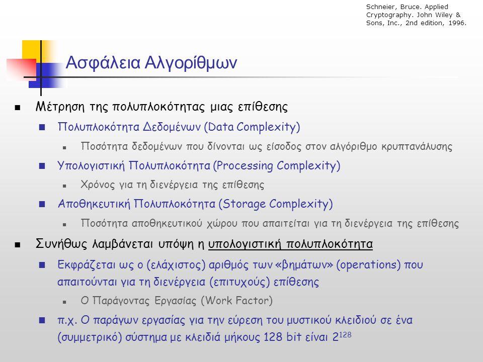 Ασφάλεια Αλγορίθμων  Μέτρηση της πολυπλοκότητας μιας επίθεσης  Πολυπλοκότητα Δεδομένων (Data Complexity)  Ποσότητα δεδομένων που δίνονται ως είσοδο