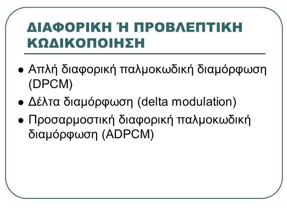 ΔΙΑΦΟΡΙΚΗ Ή ΠΡΟΒΛΕΠΤΙΚΗ ΚΩΔΙΚΟΠΟΙΗΣΗ  Απλή διαφορική παλμοκωδική διαμόρφωση (DPCM)  Δέλτα διαμόρφωση (delta modulation)  Προσαρμοστική διαφορική πα