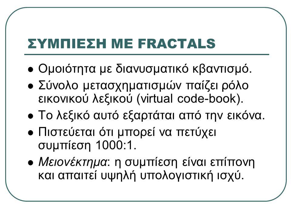 ΣΥΜΠΙΕΣΗ ΜΕ FRACTALS  Ομοιότητα με διανυσματικό κβαντισμό.  Σύνολο μετασχηματισμών παίζει ρόλο εικονικού λεξικού (virtual code-book).  Το λεξικό αυ