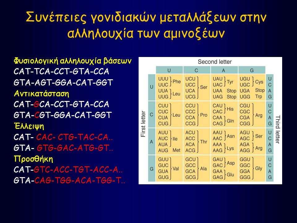 Συνέπειες γονιδιακών μεταλλάξεων στην αλληλουχία των αμινοξέων Φυσιολογική αλληλουχία βάσεων CAT-TCA-CCT-GTA-CCA GTA-AGT-GGA-CAT-GGT Αντικατάσταση CAT-GCA-CCT-GTA-CCA GTA-CGT-GGA-CAT-GGT Έλλειψη CAT- CAC- CTG-TAC-CA..