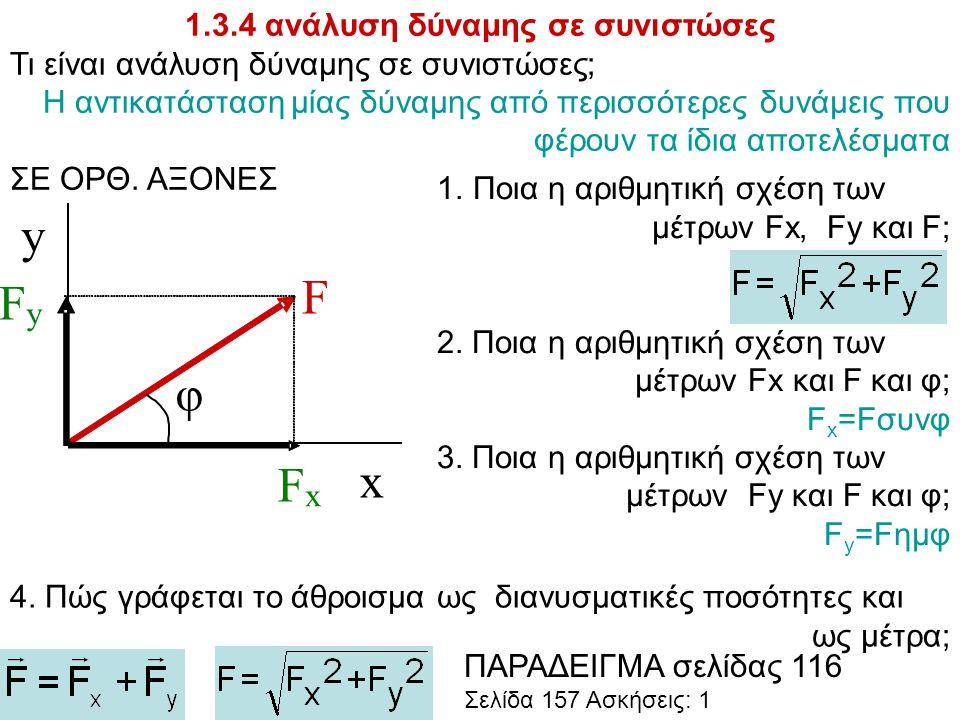 1.3.4 ανάλυση δύναμης σε συνιστώσες Τι είναι ανάλυση δύναμης σε συνιστώσες; Η αντικατάσταση μίας δύναμης από περισσότερες δυνάμεις που φέρουν τα ίδια