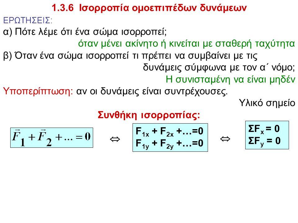 1.3.6 Ισορροπία ομοεπιπέδων δυνάμεων ΕΡΩΤΗΣΕΙΣ: α) Πότε λέμε ότι ένα σώμα ισορροπεί; όταν μένει ακίνητο ή κινείται με σταθερή ταχύτητα β) Όταν ένα σώμ