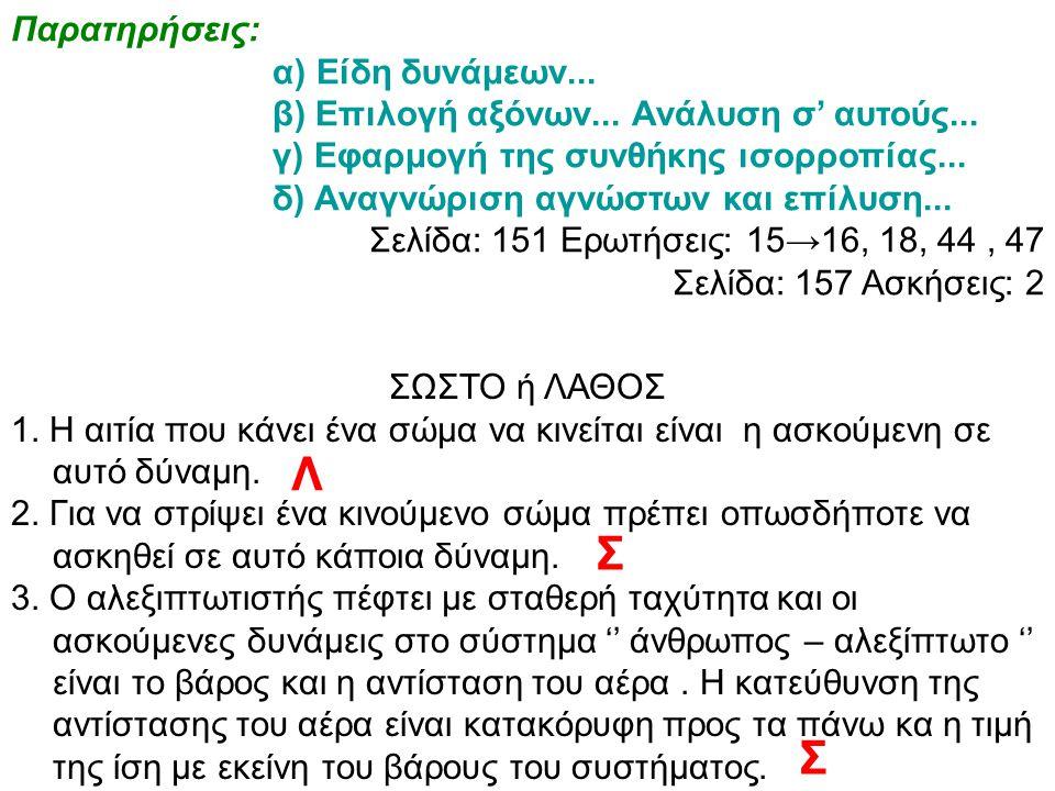 Παρατηρήσεις: α) Είδη δυνάμεων... β) Επιλογή αξόνων... Ανάλυση σ' αυτούς... γ) Εφαρμογή της συνθήκης ισορροπίας... δ) Αναγνώριση αγνώστων και επίλυση.