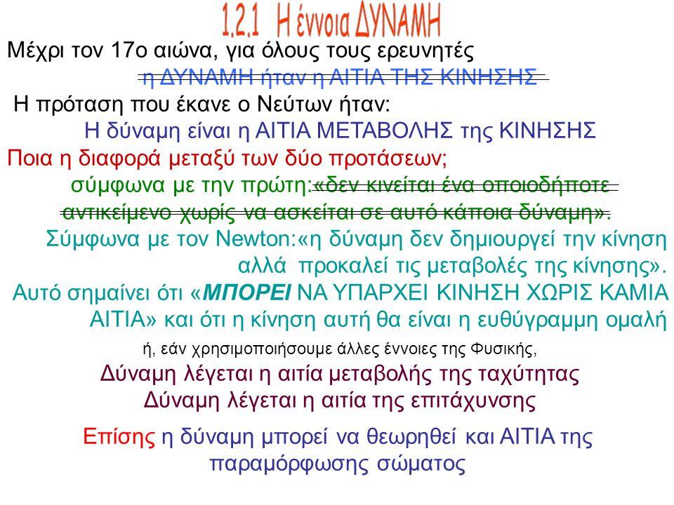 Μέχρι τον 17ο αιώνα, για όλους τους ερευνητές η ΔΥΝΑΜΗ ήταν η ΑΙΤΙΑ ΤΗΣ ΚΙΝΗΣΗΣ Η πρόταση που έκανε ο Νεύτων ήταν: Η δύναμη είναι η ΑΙΤΙΑ ΜΕΤΑΒΟΛΗΣ τη