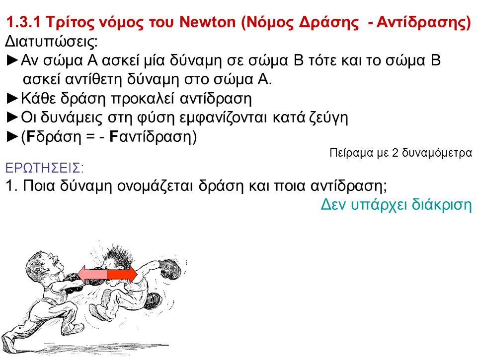 1.3.1 Τρίτος νόμος του Newton (Νόμος Δράσης - Αντίδρασης) Διατυπώσεις: ►Αν σώμα Α ασκεί μία δύναμη σε σώμα Β τότε και το σώμα Β ασκεί αντίθετη δύναμη