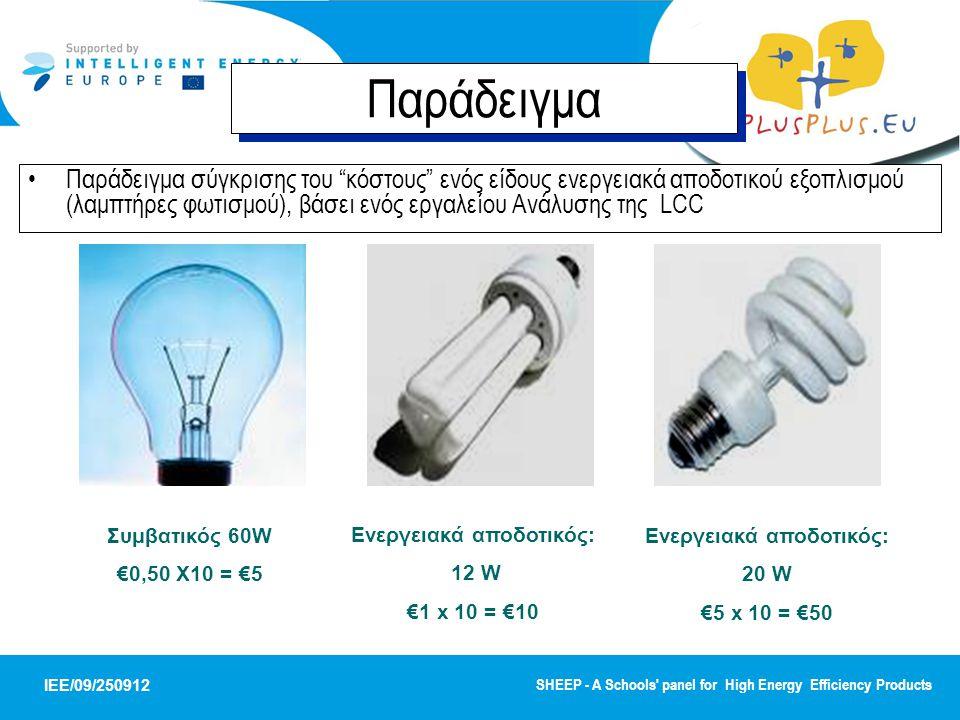 IEE/09/250912 SHEEP - A Schools panel for High Energy Efficiency Products ΣΥΓΚΡΙΣΗ ΕΠΙΛΟΓΩΝ -2500 -2000 -1500 -1000 -500 0 0510152025 έτη Αθροιστική NPV 12W ενεργειακά αποδοτικός 60W συμβατικός 20W ενεργειακά αποδοτικός