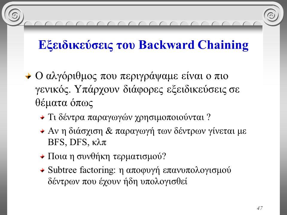 47 Εξειδικεύσεις του Backward Chaining Ο αλγόριθμος που περιγράψαμε είναι ο πιο γενικός.