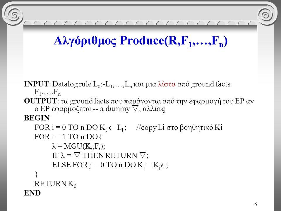 6 Αλγόριθμος Produce(R,F 1,…,F n ) INPUT: Datalog rule L 0 :-L 1,…,L n και μια λίστα από ground facts F 1,…,F n OUTPUT: τα ground facts που παράγονται από την εφαρμογή του EP αν ο ΕΡ εφαρμόζεται -- a dummy , αλλιώς BEGIN FOR i = 0 TO n DO K i  L i ;//copy Li στο βοηθητικό Ki FOR i = 1 TO n DO{ λ = MGU(K i,F i ); IF λ =  THEN RETURN  ; ELSE FOR j = 0 TO n DO K j = K j λ ; } RETURN K 0 END