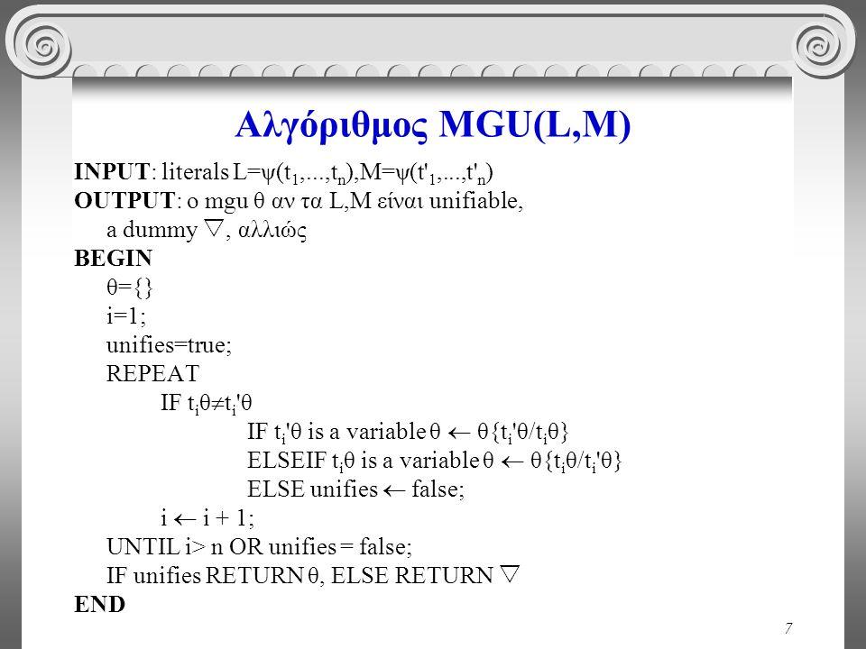 7 Αλγόριθμος MGU(L,M) INPUT: literals L=ψ(t 1,...,t n ),M=ψ(t 1,...,t n ) OUTPUT: ο mgu θ αν τα L,M είναι unifiable, a dummy , αλλιώς BEGIN θ={} i=1; unifies=true; REPEAT IF t i θ  t i θ IF t i θ is a variable θ  θ{t i θ/t i θ} ELSEIF t i θ is a variable θ  θ{t i θ/t i θ} ELSE unifies  false; i  i + 1; UNTIL i> n OR unifies = false; IF unifies RETURN θ, ELSE RETURN  END
