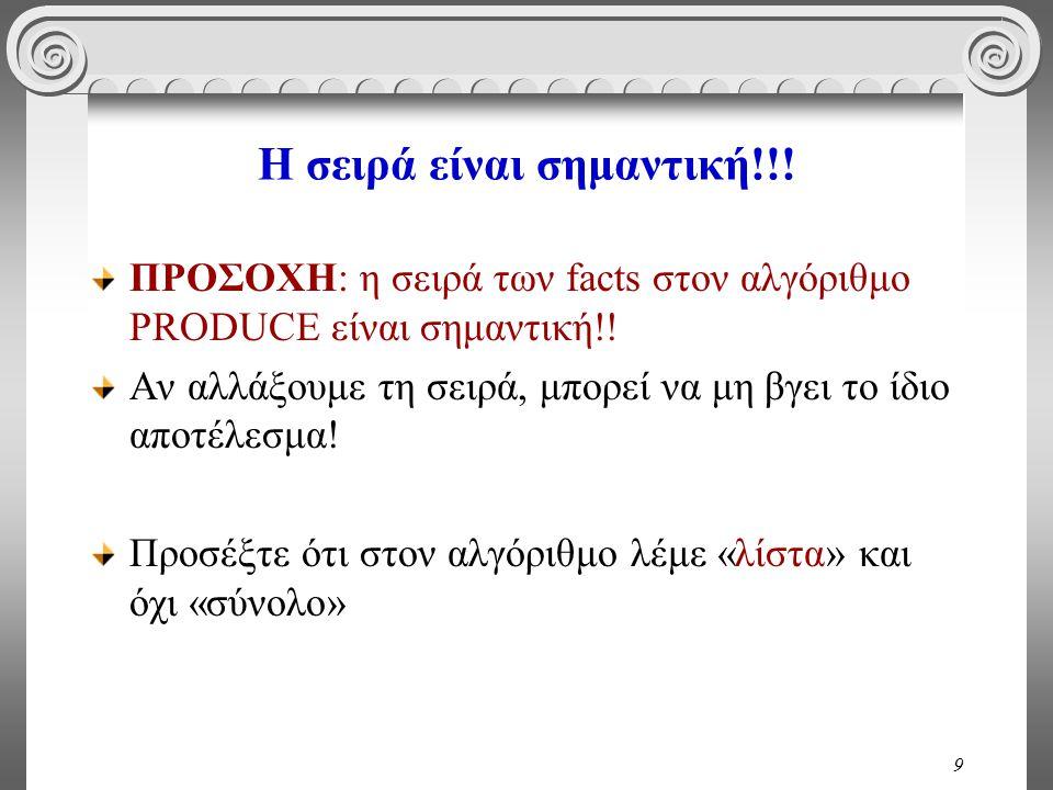 9 Η σειρά είναι σημαντική!!. ΠΡΟΣΟΧΗ: η σειρά των facts στον αλγόριθμο PRODUCE είναι σημαντική!.