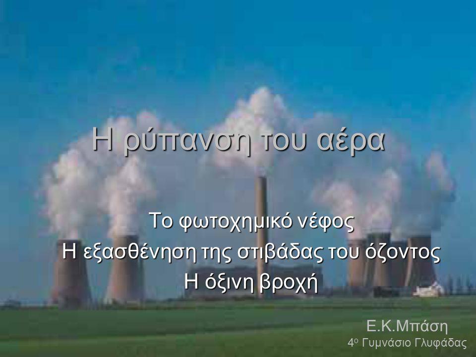 Η ρύπανση του αέρα Το φωτοχημικό νέφος Η εξασθένηση της στιβάδας του όζοντος Η όξινη βροχή Ε.Κ.Μπάση 4 ο Γυμνάσιο Γλυφάδας