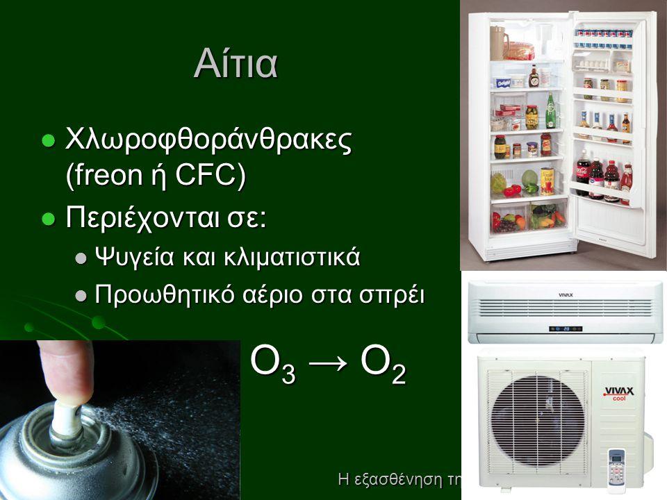 Αίτια  Χλωροφθοράνθρακες (freon ή CFC)  Περιέχονται σε:  Ψυγεία και κλιματιστικά  Προωθητικό αέριο στα σπρέι Η εξασθένηση της στιβάδας του όζοντος