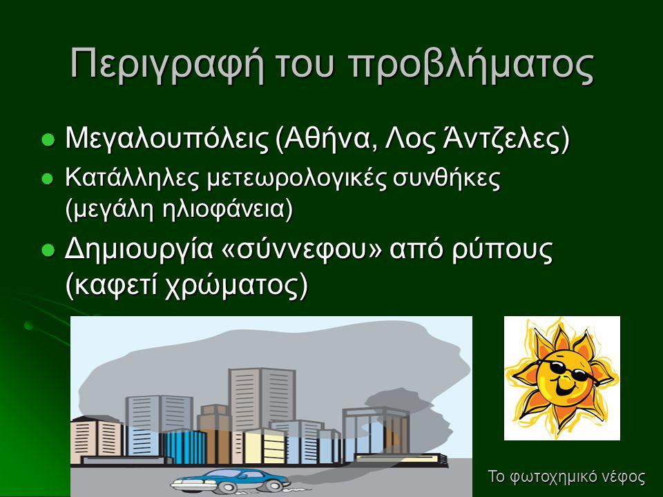 Περιγραφή του προβλήματος  Μεγαλουπόλεις (Αθήνα, Λος Άντζελες)  Κατάλληλες μετεωρολογικές συνθήκες (μεγάλη ηλιοφάνεια)  Δημιουργία «σύννεφου» από ρ