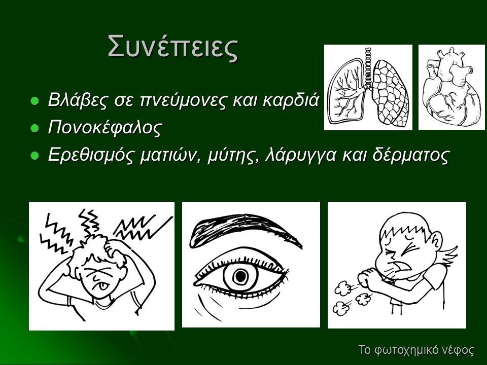 Συνέπειες  Βλάβες σε πνεύμονες και καρδιά  Πονοκέφαλος  Ερεθισμός ματιών, μύτης, λάρυγγα και δέρματος Το φωτοχημικό νέφος
