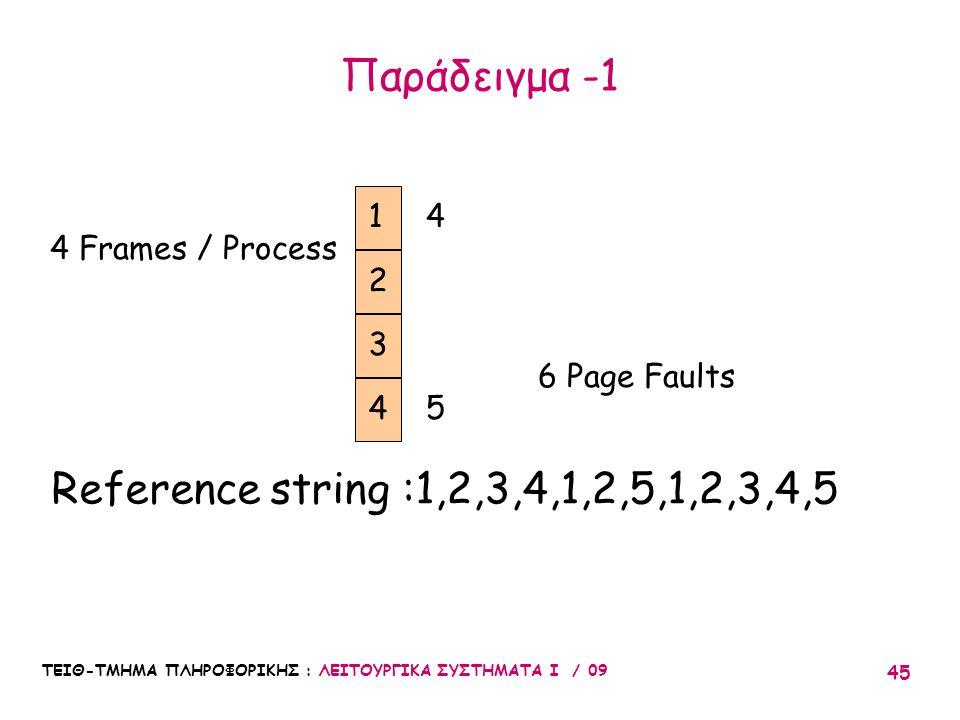 ΤΕΙΘ-ΤΜΗΜΑ ΠΛΗΡΟΦΟΡΙΚΗΣ : ΛΕΙΤΟΥΡΓΙΚΑ ΣΥΣΤΗΜΑΤΑ Ι / 09 45 Παράδειγμα -1 1 2 3 4 Frames / Process 4 6 Page Faults 4 5 Reference string :1,2,3,4,1,2,5,1