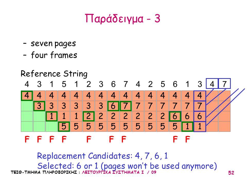 ΤΕΙΘ-ΤΜΗΜΑ ΠΛΗΡΟΦΟΡΙΚΗΣ : ΛΕΙΤΟΥΡΓΙΚΑ ΣΥΣΤΗΜΑΤΑ Ι / 09 52 7 6 5 4 7 2 5 44 3 4 3 1 4 3 1 5 4 3 1 5 4 43151236742561347 FFFFF Reference String –seven pages –four frames Replacement Candidates: 4, 7, 6, 1 Selected: 6 or 1 (pages won't be used anymore) 3 2 5 4 3 2 5 4 6 2 5 4 FF 7 2 5 4 7 2 5 4 7 2 5 4 7 6 1 4 FF 7 6 1 4 Παράδειγμα - 3