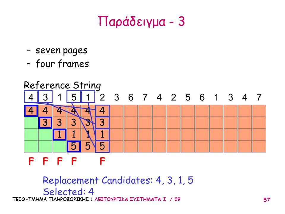 ΤΕΙΘ-ΤΜΗΜΑ ΠΛΗΡΟΦΟΡΙΚΗΣ : ΛΕΙΤΟΥΡΓΙΚΑ ΣΥΣΤΗΜΑΤΑ Ι / 09 57 4 3 4 3 1 4 3 1 5 4 3 1 5 4 43151236742561347 FFFFF Reference String –seven pages –four frames Replacement Candidates: 4, 3, 1, 5 Selected: 4 3 1 5 4 Παράδειγμα - 3