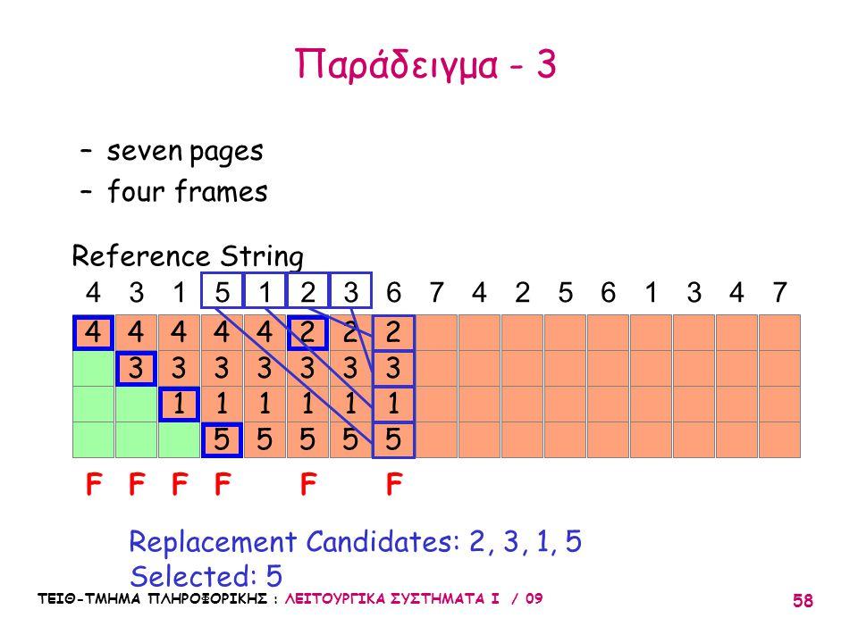 ΤΕΙΘ-ΤΜΗΜΑ ΠΛΗΡΟΦΟΡΙΚΗΣ : ΛΕΙΤΟΥΡΓΙΚΑ ΣΥΣΤΗΜΑΤΑ Ι / 09 58 4 3 4 3 1 4 3 1 5 4 3 1 5 4 43151236742561347 FFFFF Reference String –seven pages –four frames Replacement Candidates: 2, 3, 1, 5 Selected: 5 3 1 5 2 3 1 5 2 3 1 5 2 F Παράδειγμα - 3