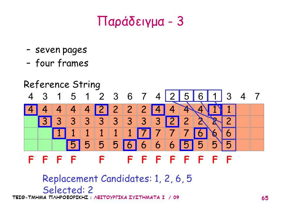 ΤΕΙΘ-ΤΜΗΜΑ ΠΛΗΡΟΦΟΡΙΚΗΣ : ΛΕΙΤΟΥΡΓΙΚΑ ΣΥΣΤΗΜΑΤΑ Ι / 09 65 4 3 4 3 1 4 3 1 5 4 3 1 5 4 4315123674256347 FFFFF Reference String –seven pages –four frames Replacement Candidates: 1, 2, 6, 5 Selected: 2 3 1 5 2 3 1 6 2 3 1 5 2 F 3 7 6 2 FF 2 6 5 1 F 3 7 6 4 2 7 6 4 F 2 7 5 4 F 2 6 5 4 F 2 6 5 1 1 F Παράδειγμα - 3