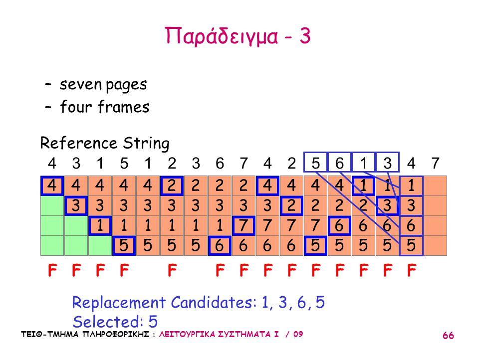 ΤΕΙΘ-ΤΜΗΜΑ ΠΛΗΡΟΦΟΡΙΚΗΣ : ΛΕΙΤΟΥΡΓΙΚΑ ΣΥΣΤΗΜΑΤΑ Ι / 09 66 4 3 4 3 1 4 3 1 5 4 3 1 5 4 4315123674256347 FFFFF Reference String –seven pages –four frames Replacement Candidates: 1, 3, 6, 5 Selected: 5 3 1 5 2 3 1 6 2 3 1 5 2 F 3 7 6 2 FF 3 6 5 1 F 3 7 6 4 2 7 6 4 F 2 7 5 4 F 2 6 5 4 F 2 6 5 1 1 F 3 6 5 1 F Παράδειγμα - 3