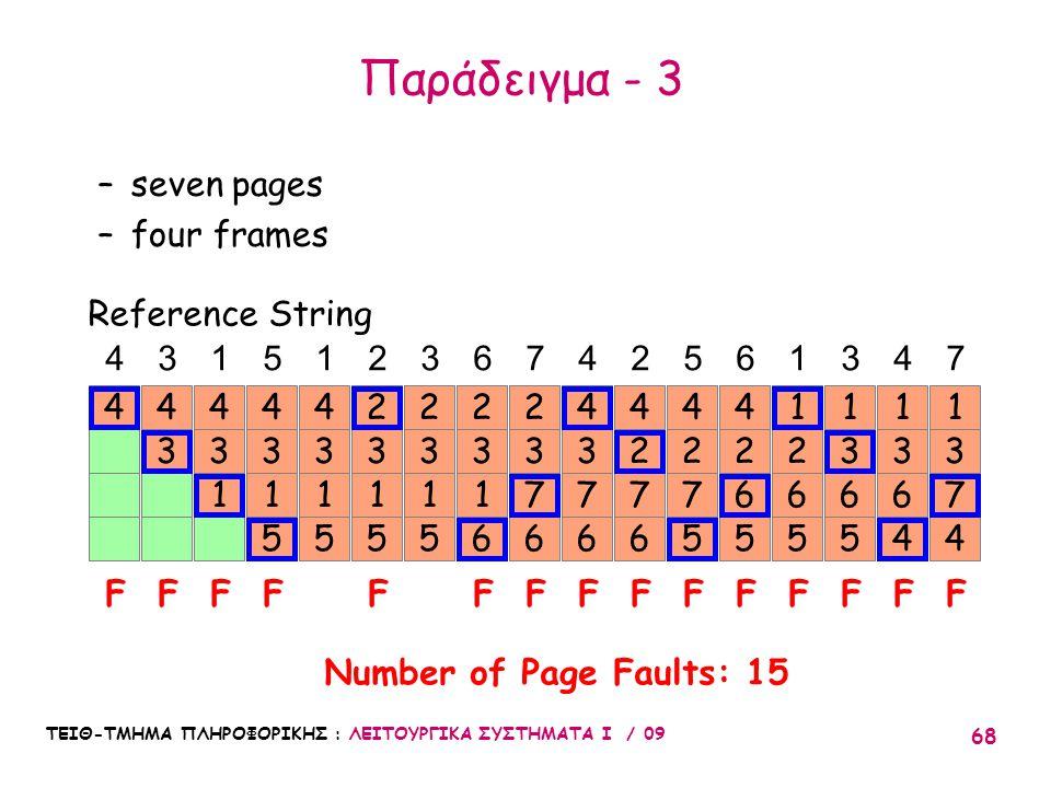 ΤΕΙΘ-ΤΜΗΜΑ ΠΛΗΡΟΦΟΡΙΚΗΣ : ΛΕΙΤΟΥΡΓΙΚΑ ΣΥΣΤΗΜΑΤΑ Ι / 09 68 14 3 4 3 1 4 3 1 5 4 3 1 5 4 4315123674256347 FFFFF Reference String –seven pages –four frames Number of Page Faults: 15 3 1 5 2 3 1 6 2 3 1 5 2 F 3 7 6 2 FFF 3 7 6 4 2 7 6 4 F 2 7 5 4 F 2 6 5 4 F 2 6 5 1 1 F 3 6 5 1 F 3 6 4 F 1 3 7 4 Παράδειγμα - 3