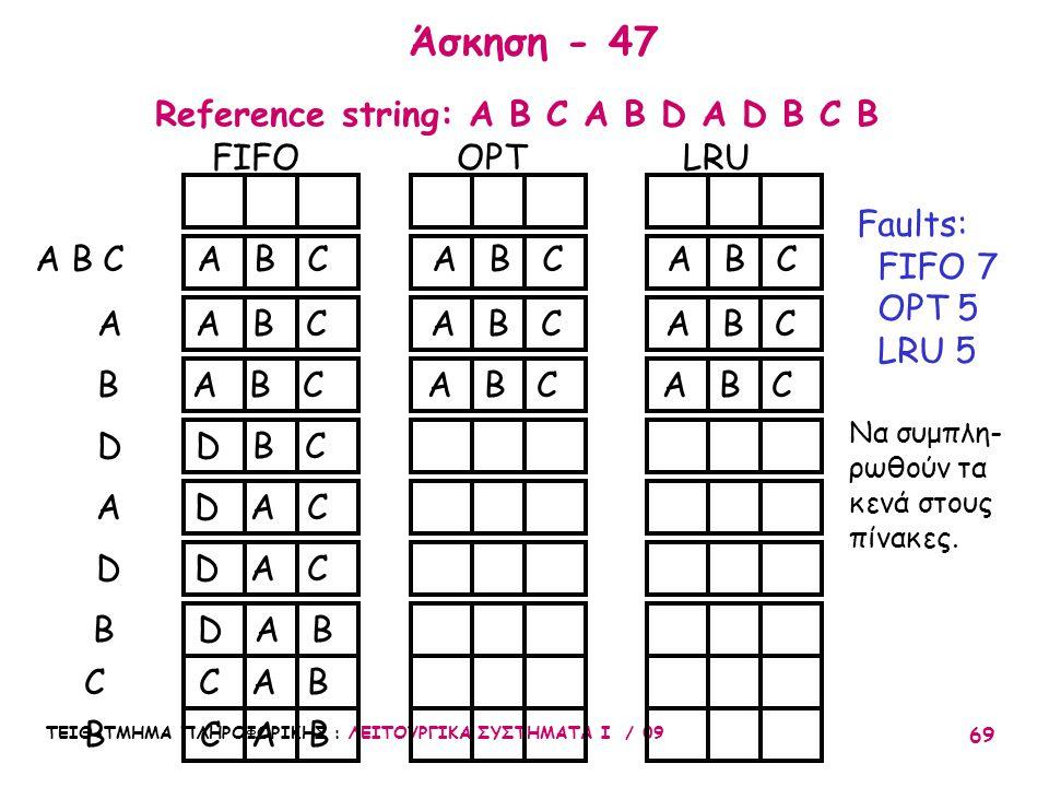 ΤΕΙΘ-ΤΜΗΜΑ ΠΛΗΡΟΦΟΡΙΚΗΣ : ΛΕΙΤΟΥΡΓΙΚΑ ΣΥΣΤΗΜΑΤΑ Ι / 09 69 Άσκηση - 47 FIFO OPT LRU A B C A B C A A B C A B C A B C B A B C A B C A B C D D B C A D A C D D A C B D A B C C A B Faults: FIFO 7 OPT 5 LRU 5 Reference string: A B C A B D A D B C B Να συμπλη- ρωθούν τα κενά στους πίνακες.