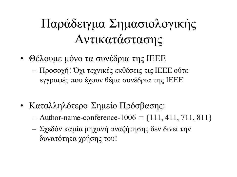 Παράδειγμα Σημασιολογικής Αντικατάστασης •Θέλουμε μόνο τα συνέδρια της IEEE –Προσοχή! Όχι τεχνικές εκθέσεις τις IEEE ούτε εγγραφές που έχουν θέμα συνέ