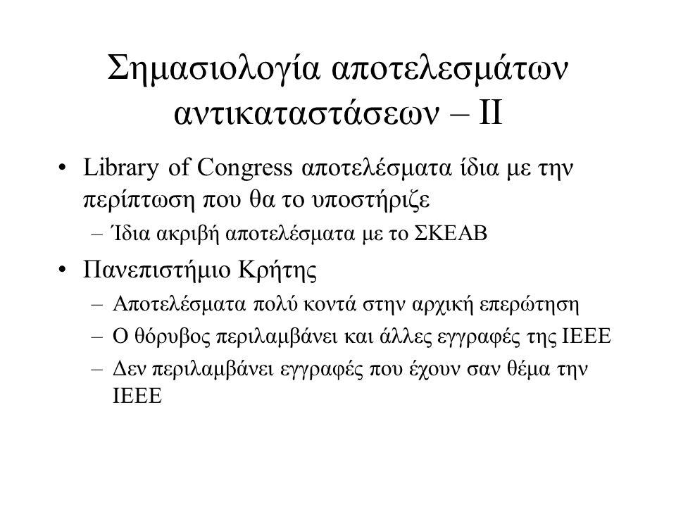 Σημασιολογία αποτελεσμάτων αντικαταστάσεων – IΙ •Library of Congress αποτελέσματα ίδια με την περίπτωση που θα το υποστήριζε –Ίδια ακριβή αποτελέσματα