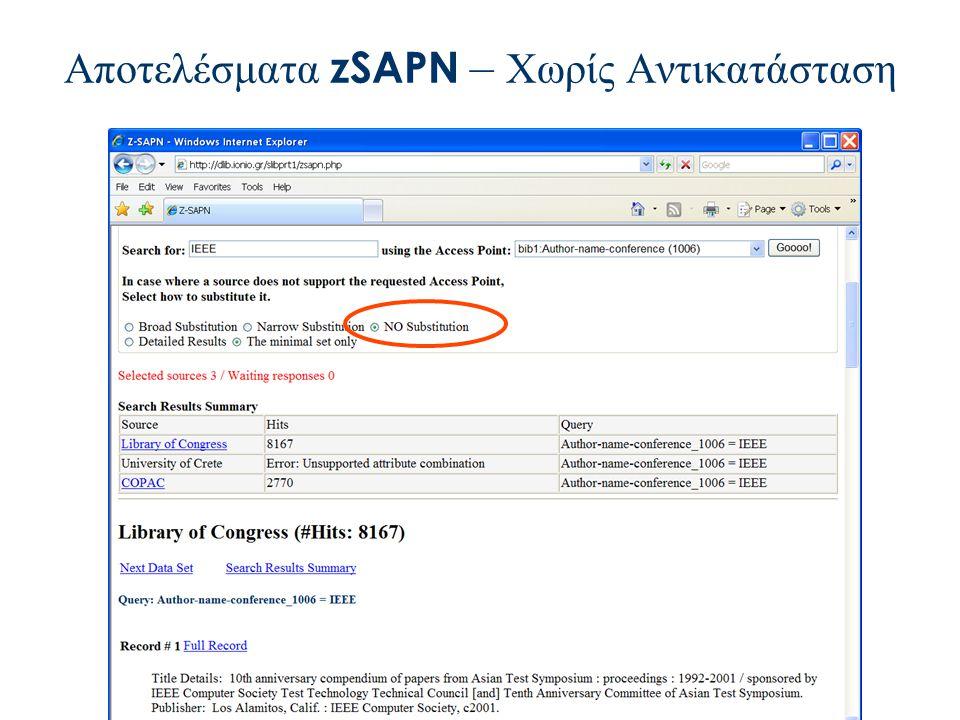 Αποτελέσματα zSAPN – Χωρίς Αντικατάσταση