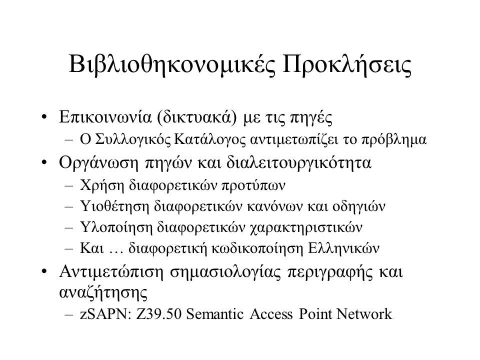 Βιβλιοθηκονομικές Προκλήσεις •Επικοινωνία (δικτυακά) με τις πηγές –Ο Συλλογικός Κατάλογος αντιμετωπίζει το πρόβλημα •Οργάνωση πηγών και διαλειτουργικό