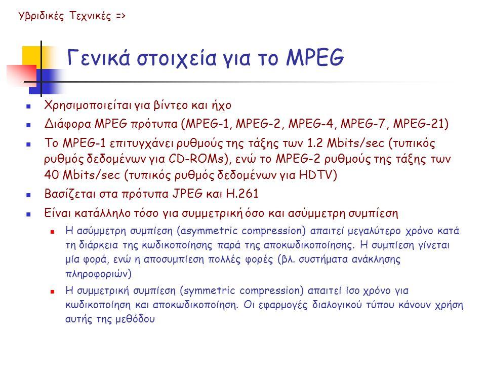 Γενικά στοιχεία για το MPEG  Χρησιμοποιείται για βίντεο και ήχο  Διάφορα MPEG πρότυπα (MPEG-1, MPEG-2, MPEG-4, MPEG-7, MPEG-21)  Το MPEG-1 επιτυγχάνει ρυθμούς της τάξης των 1.2 Mbits/sec (τυπικός ρυθμός δεδομένων για CD-ROMs), ενώ το MPEG-2 ρυθμούς της τάξης των 40 Mbits/sec (τυπικός ρυθμός δεδομένων για HDTV)  Βασίζεται στα πρότυπα JPEG και Η.261  Είναι κατάλληλο τόσο για συμμετρική όσο και ασύμμετρη συμπίεση  Η ασύμμετρη συμπίεση (asymmetric compression) απαιτεί μεγαλύτερο χρόνο κατά τη διάρκεια της κωδικοποίησης παρά της αποκωδικοποίησης.
