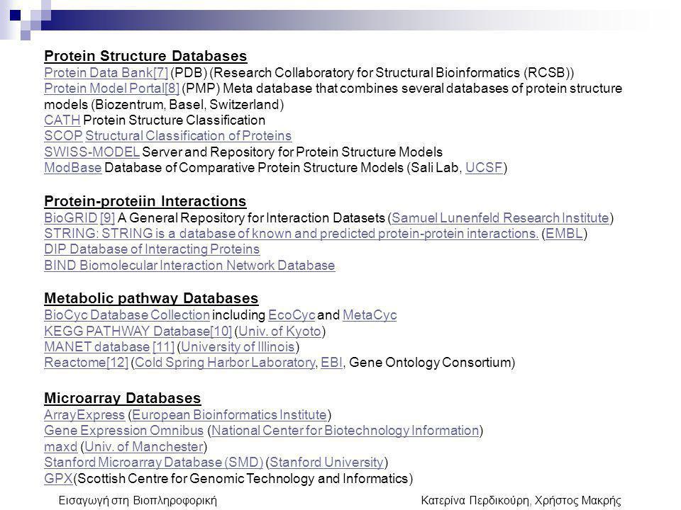 Εισαγωγή στη Βιοπληροφορική Κατερίνα Περδικούρη, Χρήστος Μακρής Protein Structure Databases Protein Data Bank[7]Protein Data Bank[7] (PDB) (Research C