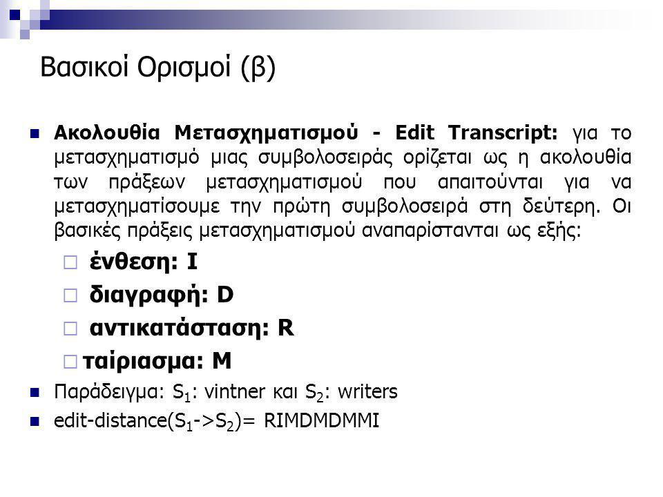 Βασικοί Ορισμοί (β)  Ακολουθία Μετασχηματισμού - Edit Transcript: για το μετασχηματισμό μιας συμβολοσειράς ορίζεται ως η ακολουθία των πράξεων μετασχ