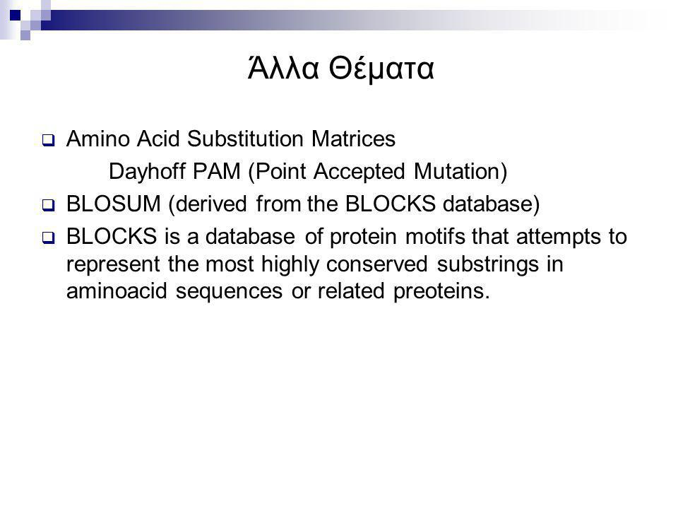 Άλλα Θέματα  Amino Acid Substitution Matrices Dayhoff PAM (Point Accepted Mutation)  BLOSUM (derived from the BLOCKS database)  BLOCKS is a databas