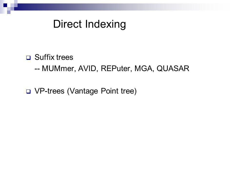 Direct Indexing  Suffix trees -- MUMmer, AVID, REPuter, MGA, QUASAR  VP-trees (Vantage Point tree)