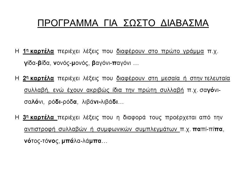 ΠΡΟΓΡΑΜΜΑ ΓΙΑ ΣΩΣΤΟ ΔΙΑΒΑΣΜΑ Η 1 η καρτέλα περιέχει λέξεις που διαφέρουν στο πρώτο γράμμα π.χ.