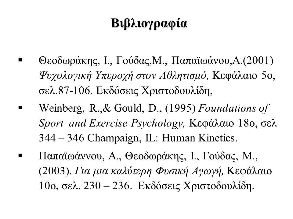 Βιβλιογραφία  Θεοδωράκης, Ι., Γούδας,Μ., Παπαϊωάνου,Α.(2001) Ψυχολογική Υπεροχή στον Αθλητισμό, Κεφάλαιο 5ο, σελ.87-106.