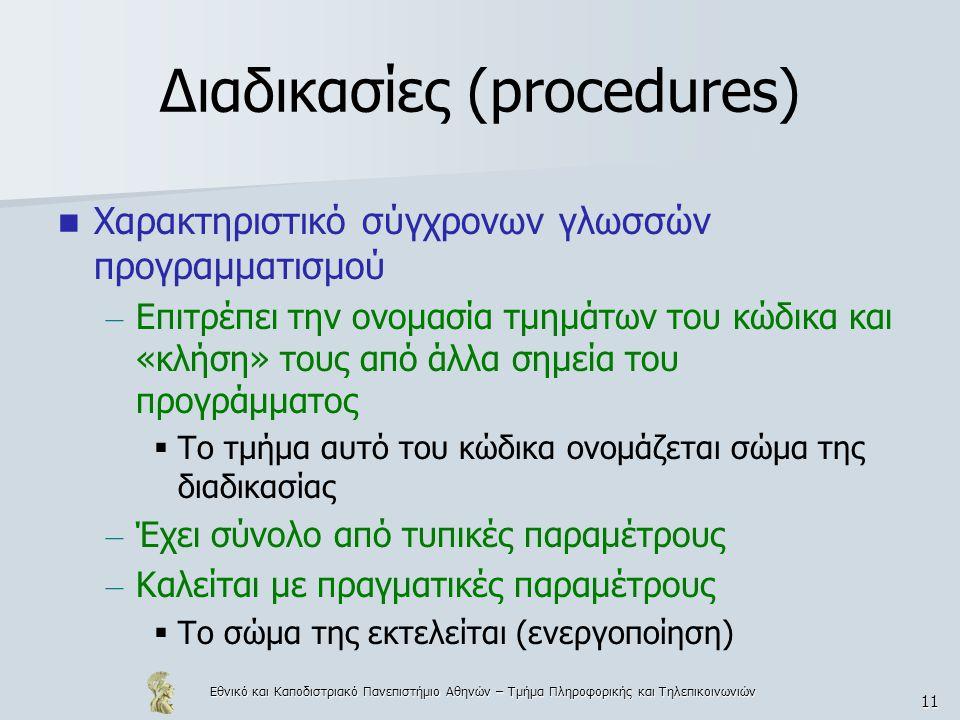 Εθνικό και Καποδιστριακό Πανεπιστήμιο Αθηνών – Τμήμα Πληροφορικής και Τηλεπικοινωνιών 12 Αναδρομή Μία διαδικασία ονομάζεται αναδρομική όταν καλεί η ίδια τον εαυτό της ή όταν καλεί κάποια άλλη διαδικασία, που μέσω σειράς κλήσεων ξανακαλεί την αρχική διαδικασία.